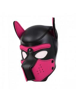 Cagoule puppy en néoprène taille S/M noir et rose profil gauche
