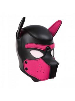 Cagoule puppy en néoprène taille S/M noir et rose profil droit