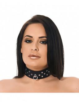Collier BDSM en cuir avec rivets Rimba